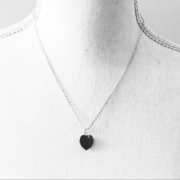 9be7fd6bf2707 ⭐️ Jet Swarovski Heart Charm Necklace ⭐️ Boutique